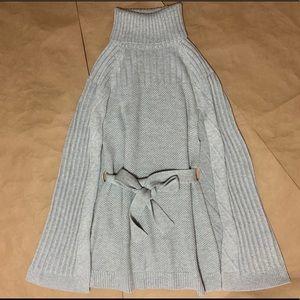 Halogen | Belted Turtleneck Poncho Sweater